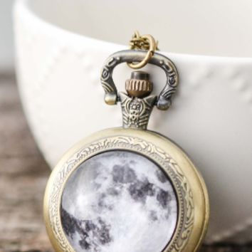 Full Moon Pocket Watch Necklace