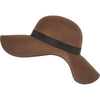 River Island Womens Dark brown wide brim floppy hat