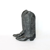 Vintage 80s Black Eel Skin Justin Cowboy Heeled Riding Boots // Women's 8