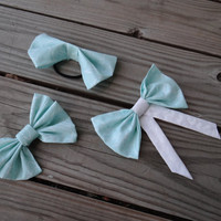 3 Elephant White and Mint Hair Bows (Tumblr Style and Great for Teens)