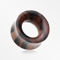 A Pair of Organic Zebrawood Double Flared Ear Gauge Tunnel Plug