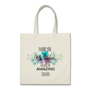 Custom Floral Teacher Thank you Tote Bag