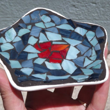 Mosaic Star Soap Dish Candy Dish Candle Holder