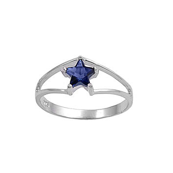 925 Sterling Silver CZ Solitaire Star Simulated Sapphire Ring 7MM