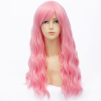 Qiyun Harajuku Fluffy Long Curly Wavy Pink Red Cosplay Anime Costume Synthetic Fibre Hair Heat Resistant Full Wig For Women