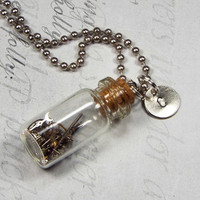 Steampunk Gear Glass Bottle Necklace with Hand Stamped Initial Charm