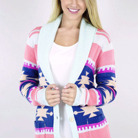 Colorful Aztec Cardigan Sweater