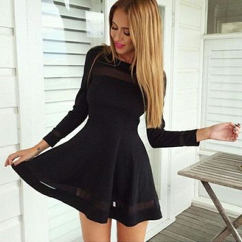 2019 Newly Spring Summer Women Secy Long Sleeve O-Neck A-Line Skinny Lace Hollow Out Black Mini Dress Outfit Party free shipping