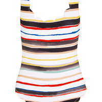 Marysia - Palm Springs scalloped striped swimsuit
