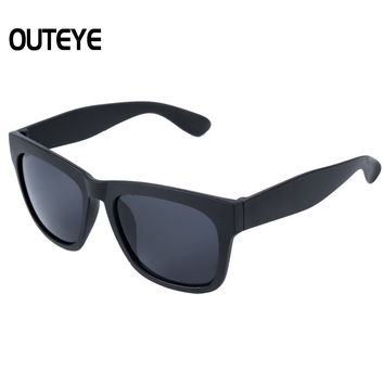 Outeye Black Fashion 2017 Retro Vintage Mens Womens 80's Unisex Black Mirror Sunglasses Eyewear Frames Oversized Sun Glasses