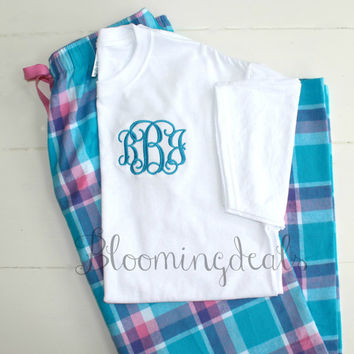 Monogram Flannel Pajama Pants and Tee Shirt Set Blue-Pink-White Plaid Personalized Gift Under 30 Dollars