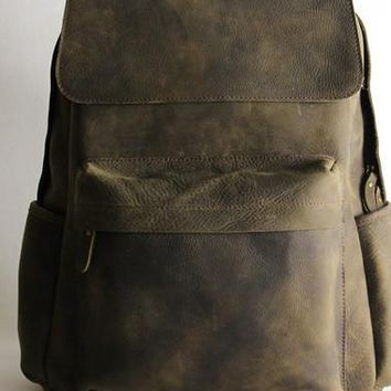 Vintage Leather backpack Black Brown for men Distressed Weekend Bag Travel Bag