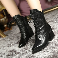 Winter Leather Pointed Toe High Heel Stylish Dr Martens Casual Shoes Boots [6050208513]