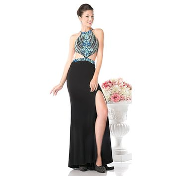 Halter Cut-Out Long Prom Dress Black with Slit
