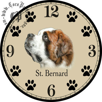 "St. Bernard Dog Art -- DIY Digital Collage - 12.5"" DIA for 12"" Clock Face Art - Crafts Projects"