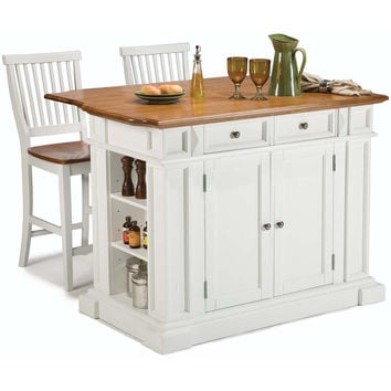 Home Styles White Distressed Oak Kitchen Island and Bar Stools | Overstock.com Shopping - The Best Deals on Kitchen Islands