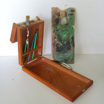 Folding Artists Paint Box and Pallette Wood Case Vintage Art Box Artists Travel Case