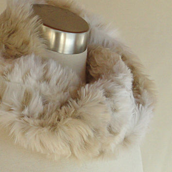 Snow Leopard Faux Fur Scarf - Infinity Scarf in Cream and Shades of Taupe