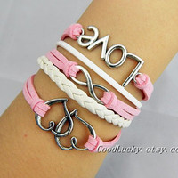 Telesthesia Infinity LOVE lovers bracelet-silver infinity,LOVE,Heart bracelet-white,pink wax rope and white braided leather bracelet