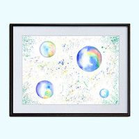 Bubble Blower  Nursery Air decor Printable Watercolor Digital Download 2 sizes Poster Wall Decor INSTANT Download Art Print