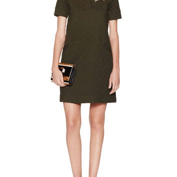 Love Moschino Women's Quilted Cotton Shift Dress - Green - Size 40