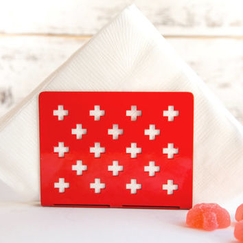 Napkin holder RED swiss crosses laser cut metal napkin dispenser kitchen accessory letter holder