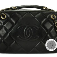 Authentic New Chanel A67751 Cc Camera Black Lambskin Shoulder Bag Gbhw MPRS