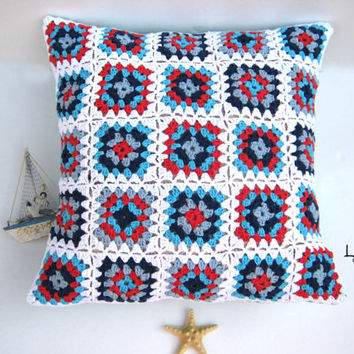 Handmade crochet pillow, crochet cuschion, patchwork, granny square pillow ready to ship, cushion cover, blue, red