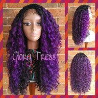 Ready To Ship // Micro Braided Lace Front Wig, Long Kinky Curly Hand-Braided Wig, Ombre Purple Wig // PLENTIFUL