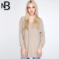 Fall Fashion Knit V-neck Pullover Long Sleeve Tops [8906285959]