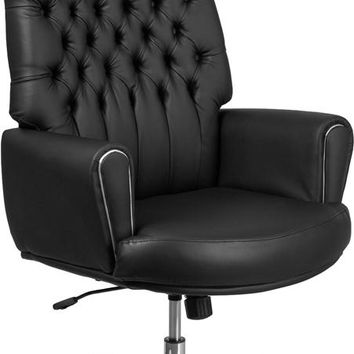 High Back Traditional Tufted Black Leather Executive Swivel Office Chair with Silver Welt Arms [BT-444-BK-GG]