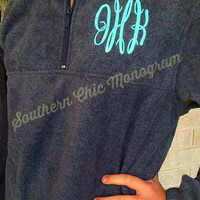 Preppy Monogrammed quarter zip pullover jacket Personalized Gift Bridesmaid Sweatshirt Greek Sorority Graduation Wedding Big Little