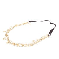 Gold Multi-Chain Stars and Faux Pearls Headchain Headwrap
