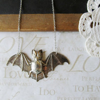 BATTY flying bat necklace in anitiqued silver