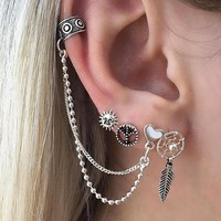 4 Pcs/set Fashion Personality Bohemia Style Ear Chain And Earrings 171120