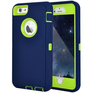 "Maxcury iPhone 6 Case, iPhone 6S Case, Crosstree Heavy Duty Shockproof Series Case for iPhone 6/6S (4.7"")-V2 with Built-in Screen Protector Compatible with all US Carriers (Navy&Lime)"