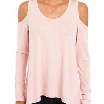 Eyeshadow Cold Shoulder V-neck Top