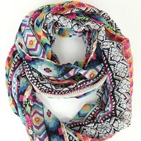 Infinity Scarf with Multicolor Mixed Pattern
