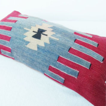OLD Lumbar Turkish Kilim Pillow Cover, Decorative Lumbar Pillow, Handwoven Anatolian  Lumbar Piillow 11' x 21.2 ' INCH