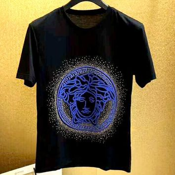 Versace 2019 new beauty head logo round neck short-sleeved T-shirt black