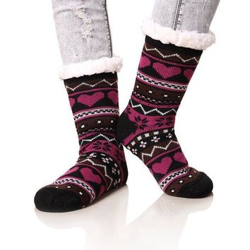 ESBON8C Dosoni Women's Winter Snowflake Fleece Lining Knit Christmas Knee Highs Stockings Slipper Socks