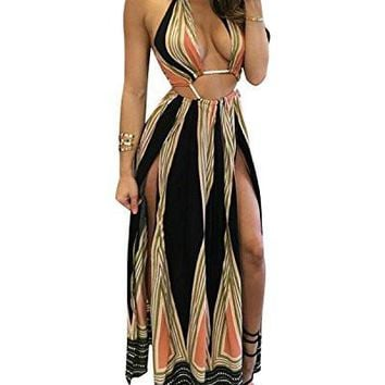Women's Boho Dresses Floral Halter Summer Beach Party Split Cover Up Dress S-XL