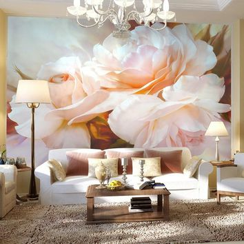 3D Wall Mural Classical Pink Rose Large Mural Custom 3D Room Landscape Wallpaper Living Room Sofa Backdrop Painting Wall Papers