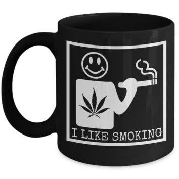 I Like Smoking Black Coffee Mug - White (Front Only)