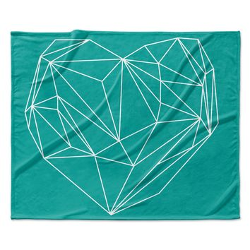 "Mareike Boehmer ""Heart Graphic Turquoise"" Teal Abstract Fleece Throw Blanket"