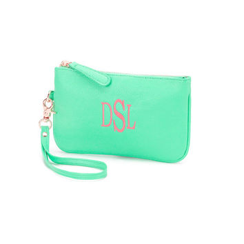 Mint Green Mini Wristlet Purse Wallet  - Monogrammed Personalized Purse