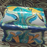 Large Ceramic Trinket / Vanity / Jewelry Box With Blue, Aqua and Yellow Swirl Design Made in Mexico