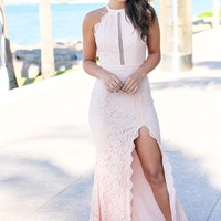 Blush High Neck Lace Maxi Dress with Side Slit