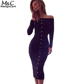 Long Sleeve Bodycon Dress off shoulder Casual button dress