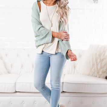 Kristi Knit Cropped Cardigan (Sage)